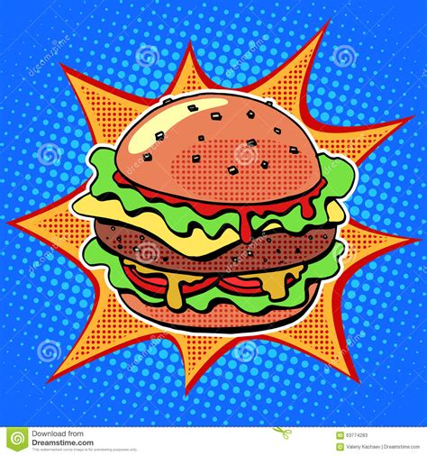 cuisine pop fast food burger with sesame salad and cheese stock