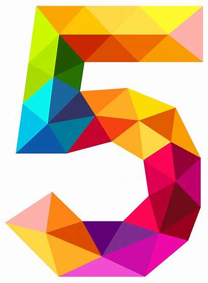 Number Clipart Colourful Word Five Geometry Numbers