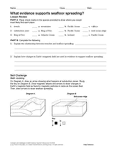 Sea Floor Spreading Worksheet Section 1 4 by What Evidence Supports Seafloor Spreading Earth Science