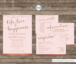 wedding invitation printable template set rose gold foil With free wedding invitation templates rose gold