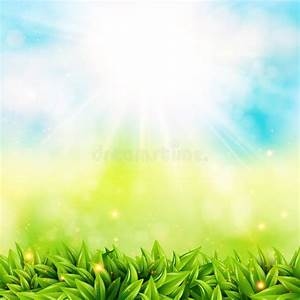 Abstract Spring Poster With Shining Sun And Blurred ...