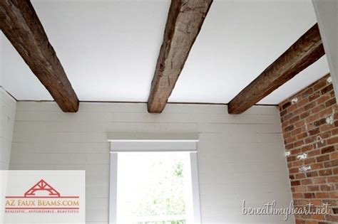 Installing Faux Wood Beams {in Our Master Bathroom