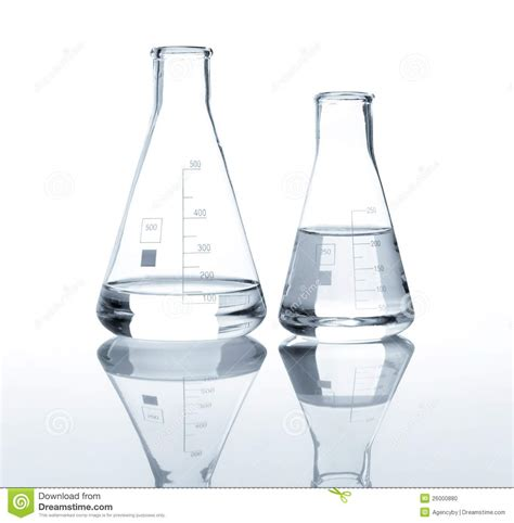 print glass water bottle two laboratory flasks with a clear liquid stock photo