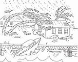 Coloring Weather Hurricane Disaster Natural Severe Disasters Tornado Drawing Colouring Printable Sheets Draw Books Tsunami Flood Naturales Nature Desastres Storm sketch template