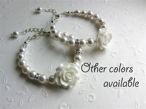 set   flower girl gifts swarovski pearl bracelets