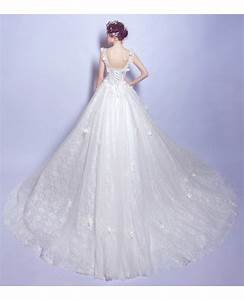 dreamy ball gown v neck court train tulle wedding dress With court wedding dresses