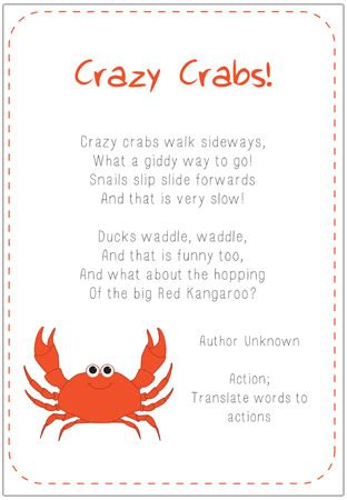 early learning resources crazy crabs poem eyfs  ks