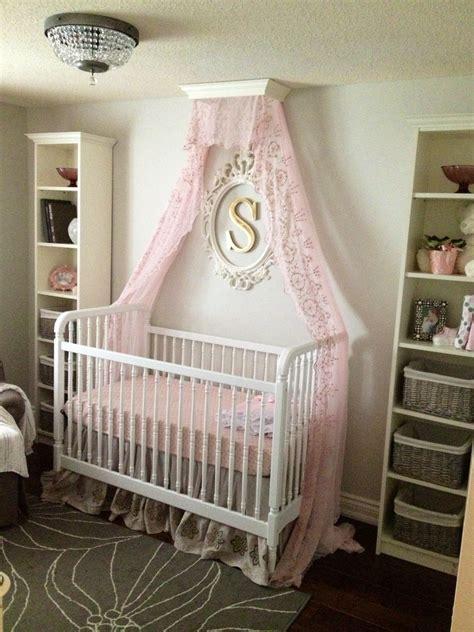 pink  gray nursery  crib canopy  baby girl