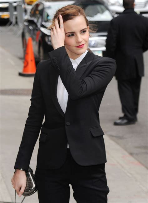 emma watson  fitted trouser suit arriving   late show  david letterman march