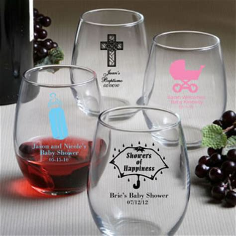 personalized stemless wine glass baby shower favors