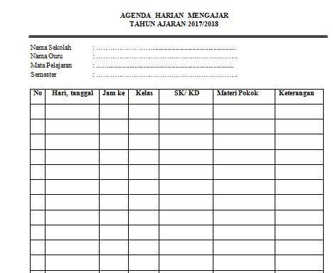 contoh agenda harian guru sd  guru smp
