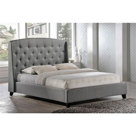 gray tufted bed luxeo laguna gray upholstered bed q6327 gry