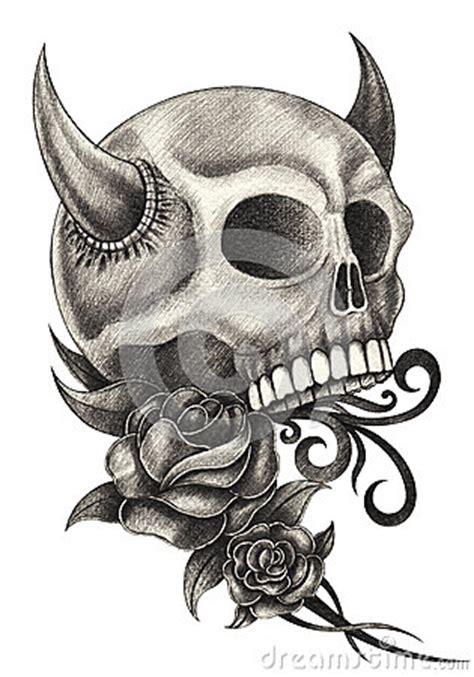 art skull devil tattoo stock illustration image