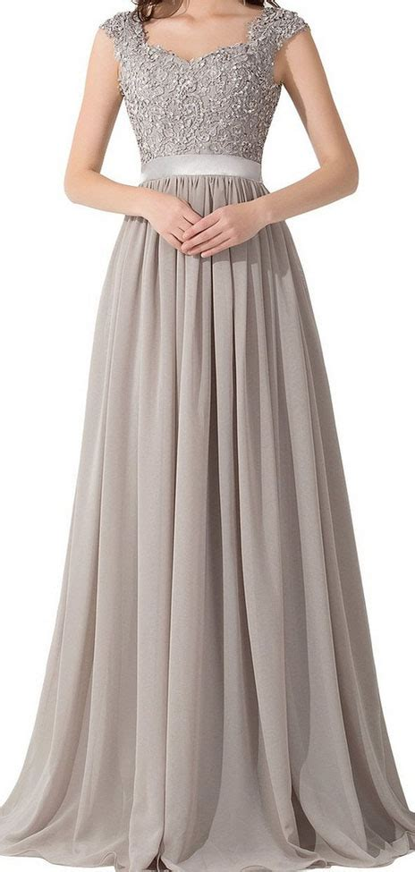 grey cap sleeve a line lace and chiffon floor length prom