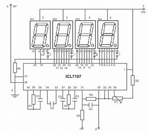 Led Display Digital Voltmeter    Circuit Diagrams