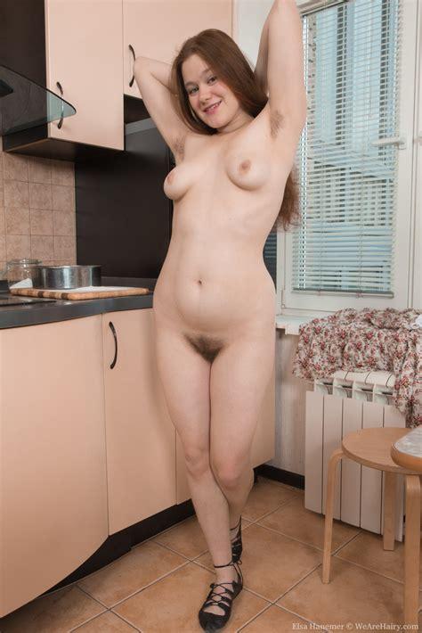 elsa hanemer strips naked in kitchen after tea