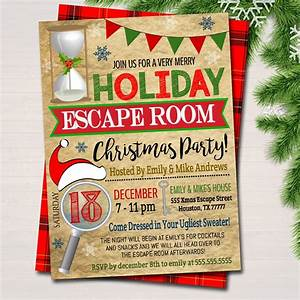 Christmas Invite Background Printable Holiday Escape Room Invitation Christmas Party