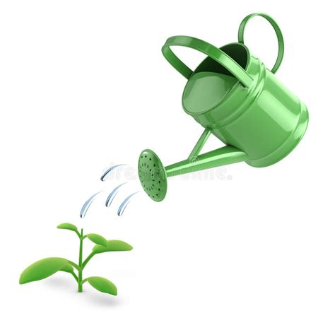 watering can with water coming out 3d green watering can and seedling stock illustration