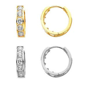 solid yellow  white solid gold huggie hoop earrings  cz cubic