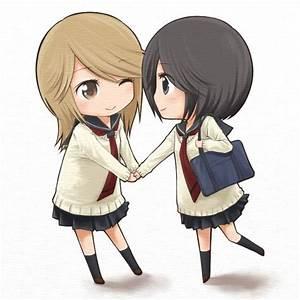 2girls chibi girl friends (manga) holding hands kumakura ...