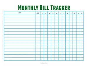 Free Monthly Bill Tracker