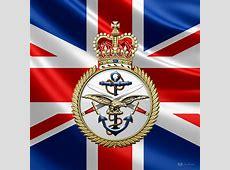 British Armed Forces Emblem Over Flag Digital Art by Serge