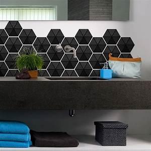 Stickers Carreaux De Ciment : stickers carreaux de ciment hexagones design noir salle ~ Melissatoandfro.com Idées de Décoration