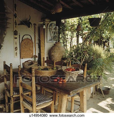 Italian Veranda by Stock Photography Of Rustic Wooden Furniture On Veranda Of
