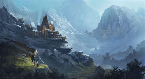 mountain fortress  nathan elmer fantasy concept art
