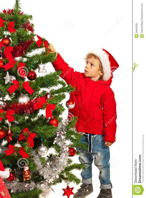 toddler boy decorate tree stock image image  season