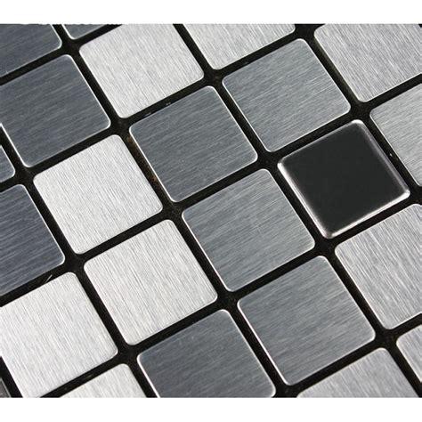 Adhsive Mosaic Tile Backsplash Square Brushed Metal Wall