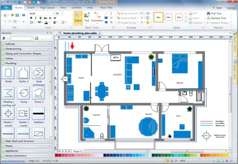 efficiency floor plans plumbing and piping plan software