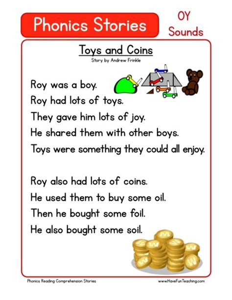 reading comprehension worksheet toys and coins
