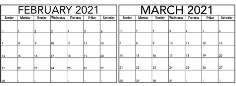 February March 2021 Calendar Template   Free Printable ...