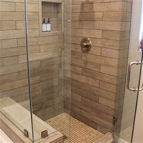 faux shower faux wood tile in shower visit just floors in westfield in to design the shower of your dreams