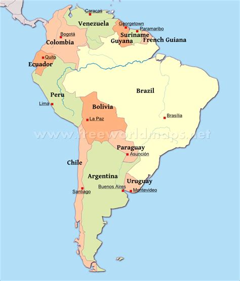 map  south america  capitals   south