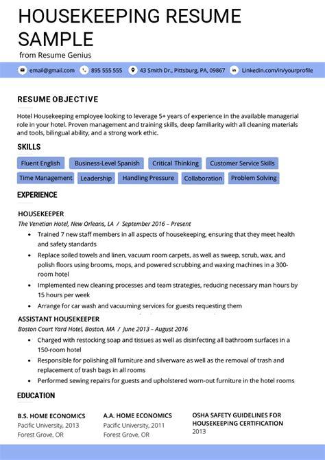 housekeeping resume  writing tips resume genius
