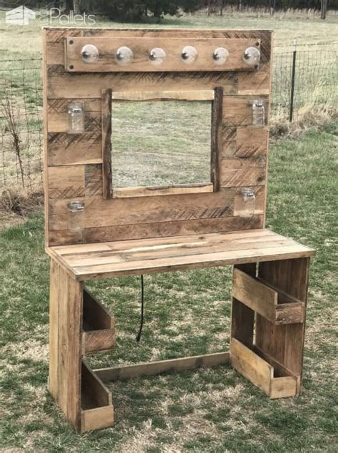Rustic Lit Pallet Makeup Vanity • 1001 Pallets. Azure Properties. Pool Images. Bathroom Shower Stalls. Fruit Bowls. Cabinets Warehouse. Zinc Countertops. Nursery Ideas For Girls. Bathroom Tile Ideas