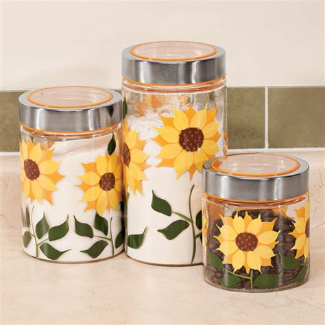 sunflower canisters for kitchen sunflower canisters set of 3 glass jars glass