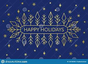 Christmas, Banner, Gold, Geometric, Snowflakes, And, Shapes, On, Dark, Blue, Background, With, Text, Happy