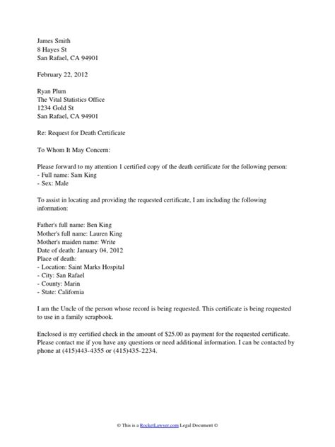 death certificate request letter