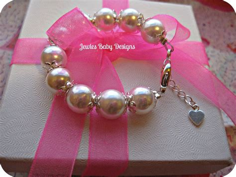 infant jewelry swarovski white pearl baby bracelet