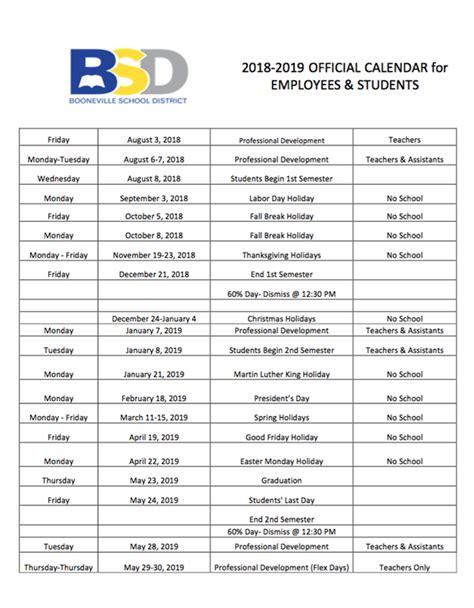 school calendar released anderson elementary school