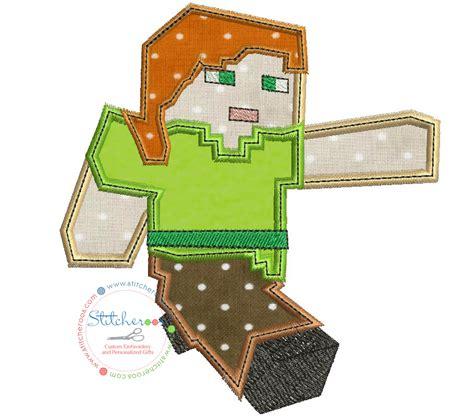 minecraft embroidery design minecraft steve applique design by stitcheroo designs