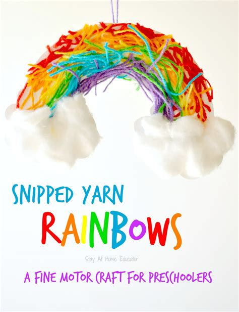 snipped yarn rainbow craft 466 | Snipped yarn rainbows a fine motor craft for preschoolers Stay At Home Educator 1536x2000