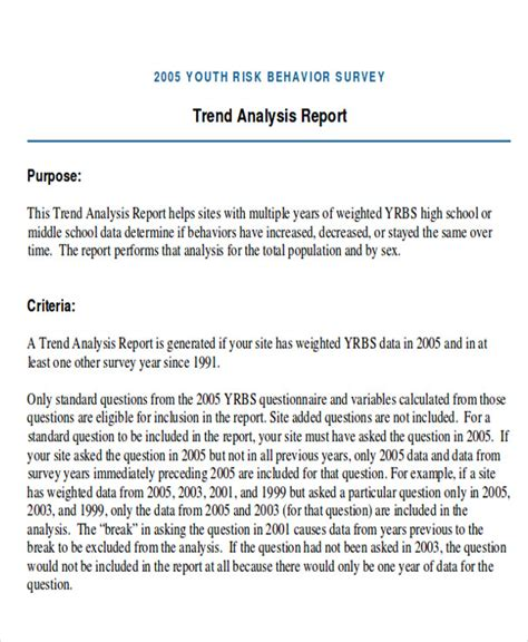 trend analysis samples  ms word  excel