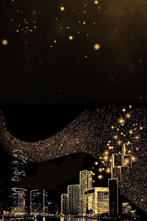 black glare gold powder city black background wallpaper