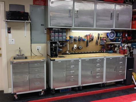 heavy duty and customized garage with ultrahd cabinets