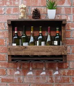 Rustic 6 Bottle Wine Rack with 4 Glass Slot Holder and Top ...