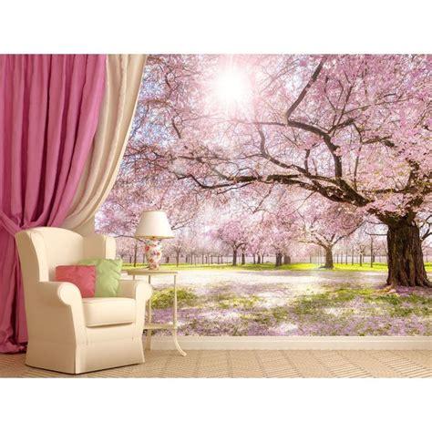 papier peint cerisiers dans l aube papier peint paysage
